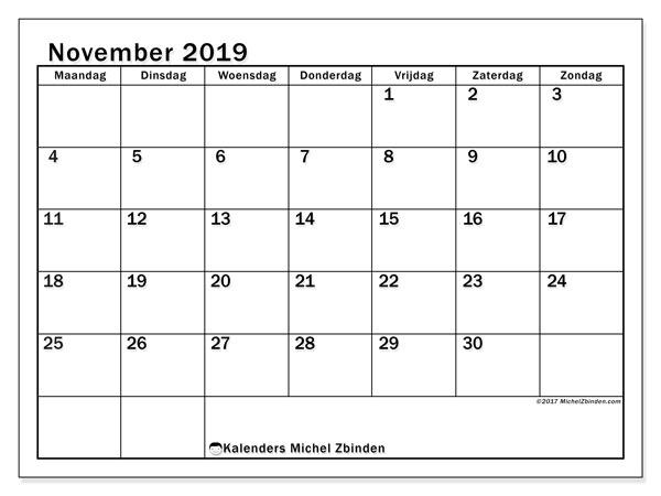 Kalender november 2019, 50MZ. Schema om gratis te printen.
