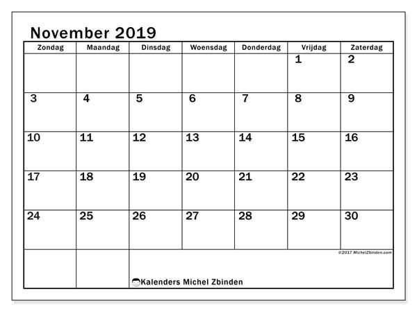 Kalender november 2019, 50ZZ. Schema om gratis te printen.