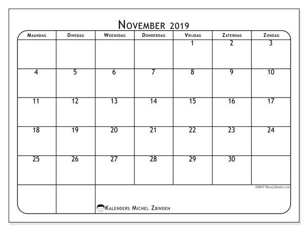 Kalender november 2019, 51MZ. Maandkalender om gratis te printen.