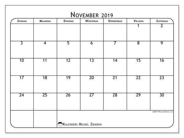 Kalender november 2019, 51ZZ. Gratis afdrukbare kalender.