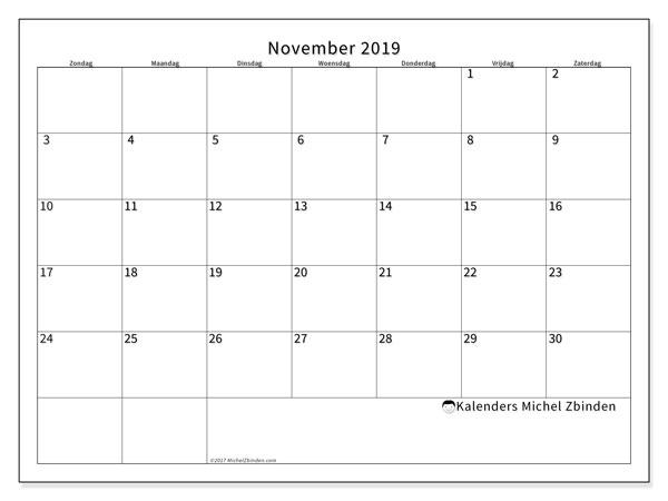 Kalender november 2019, 53ZZ. Gratis kalender om af te drukken.