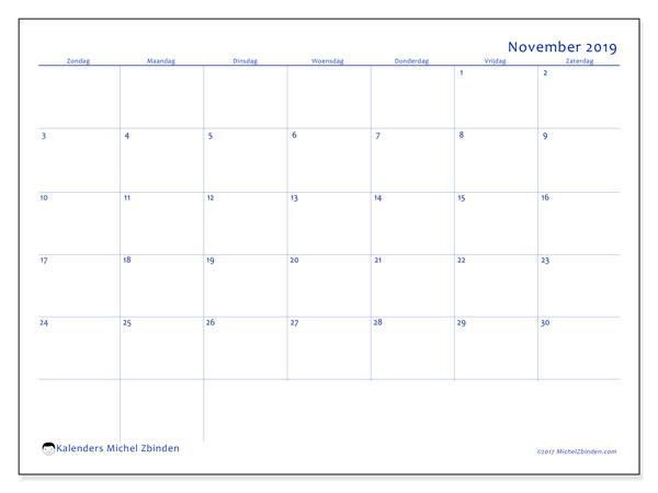 Kalender november 2019, 55ZZ. Kalender voor de maand die gratis moet worden afgedrukt.