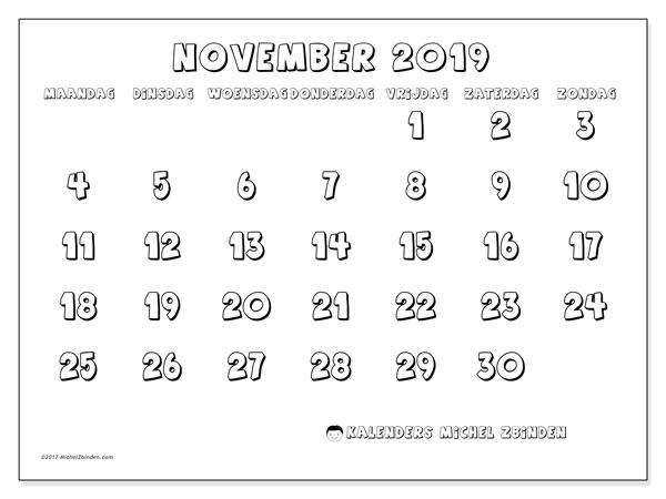 Kalender november 2019, 56MZ. Kalender om gratis af te drukken.