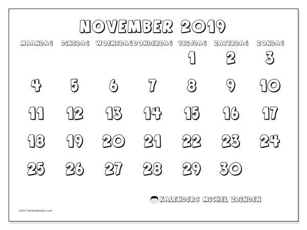 Kalender november 2019, 56MZ. Gratis printbare kalender.