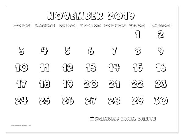 Kalender november 2019, 56ZZ. Gratis kalender om af te drukken.
