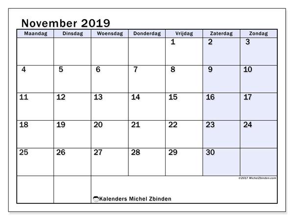 Kalender november 2019, 57MZ. Gratis printbare kalender.