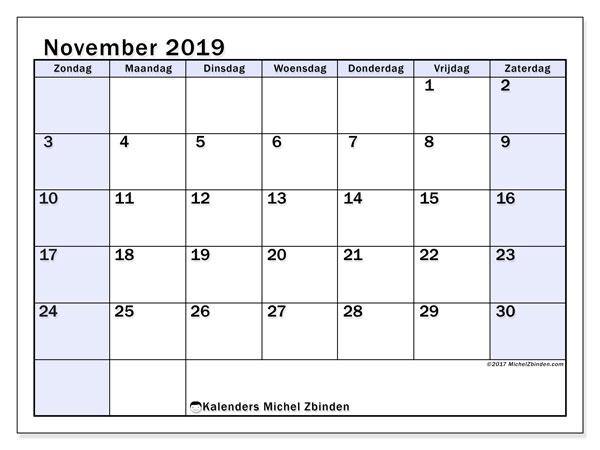 Kalender november 2019, 57ZZ. Gratis kalender om af te drukken.