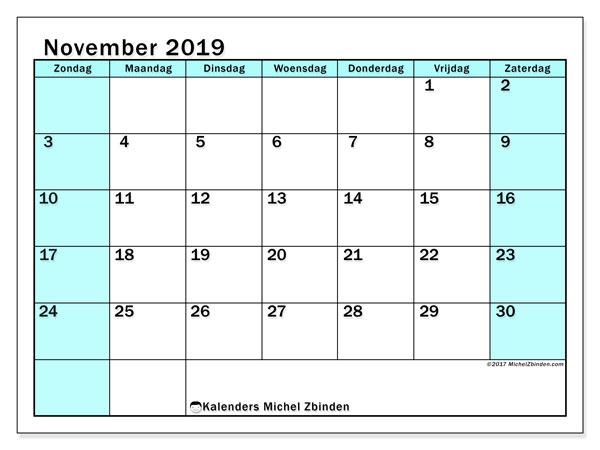 Kalender november 2019, 59ZZ. Gratis afdrukbare kalender.