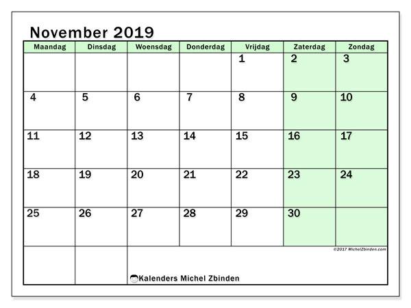 Kalender november 2019, 60MZ. Gratis afdrukbare kalender.