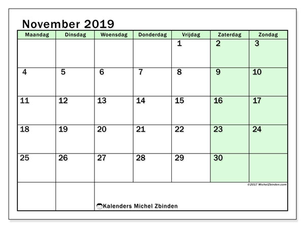 Kalender november 2019, 60MZ. Schema om gratis te printen.
