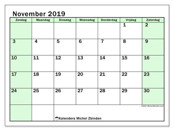 Kalender november 2019, 60ZZ. Kalender voor de maand die gratis moet worden afgedrukt.
