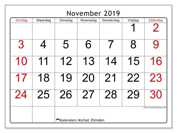 Kalender november 2019, 62ZZ. Kalender voor de maand die gratis moet worden afgedrukt.