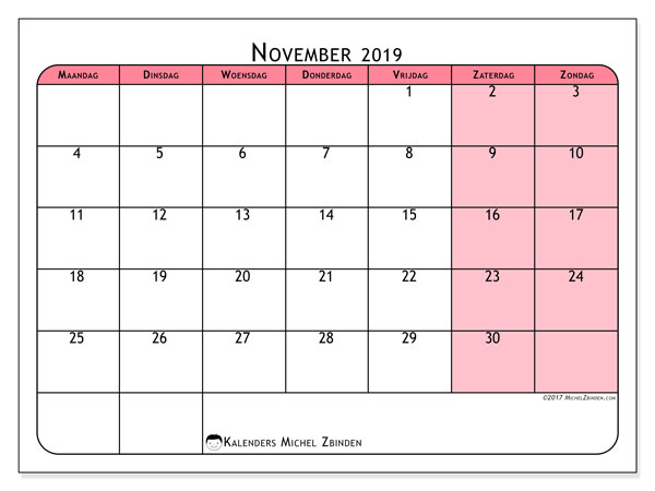 Kalender november 2019, 64MZ. Agenda om gratis te printen.