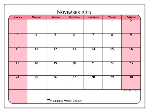 Kalender november 2019, 64ZZ. Agenda om gratis te printen.