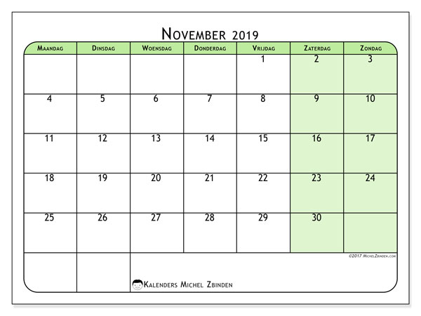 Kalender november 2019, 65MZ. Agenda om gratis te printen.