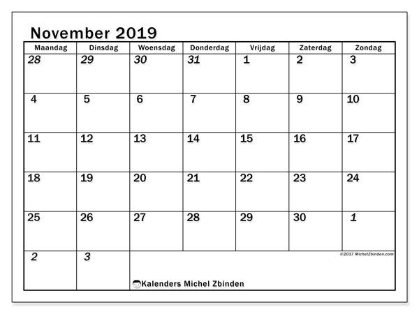 Kalender november 2019, 66MZ. Kalender om gratis af te drukken.