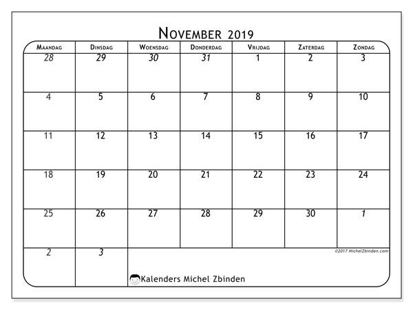 Kalender november 2019, 67MZ. Agenda om gratis te printen.