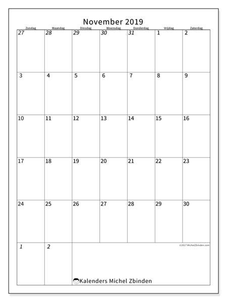 Kalender november 2019, 68ZZ. Kalender om gratis te printen.