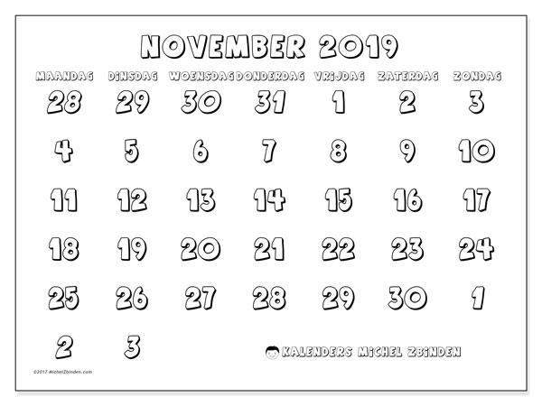 Kalender november 2019, 71MZ. Kalender voor de maand die gratis moet worden afgedrukt.
