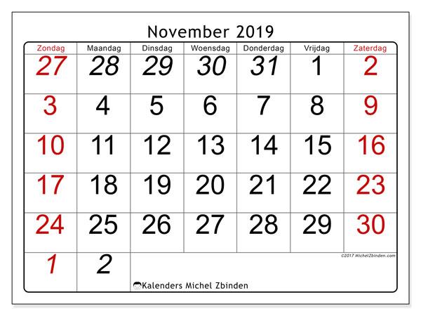 Kalender november 2019, 72ZZ. Maandkalender om gratis te printen.