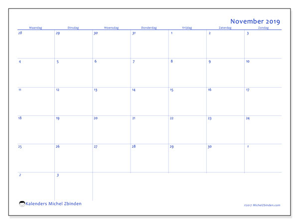 Kalender november 2019, 73MZ. Kalender voor de maand die gratis moet worden afgedrukt.