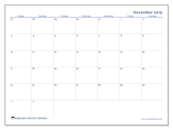 Kalender november 2019, 73ZZ. Kalender om gratis af te drukken.