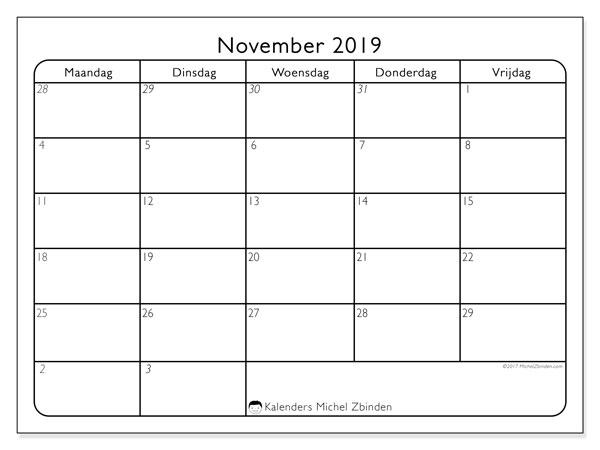 Kalender november 2019, 74ZZ. Gratis afdrukbare kalender.