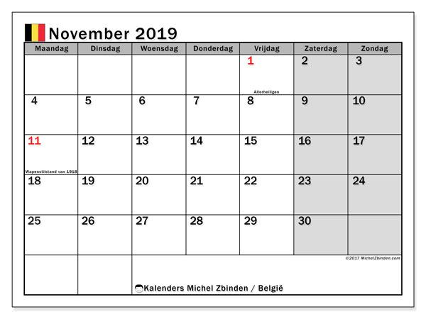 Kalender november 2019, met feestdagen in België. Kalender feestdagen om gratis te printen.