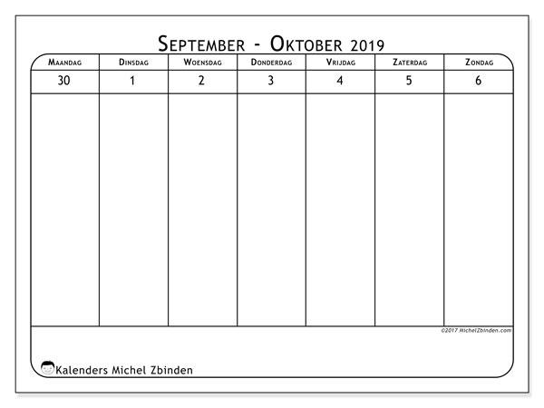 Kalender oktober 2019, 43-1MZ. Kalender voor de week om gratis te printen.