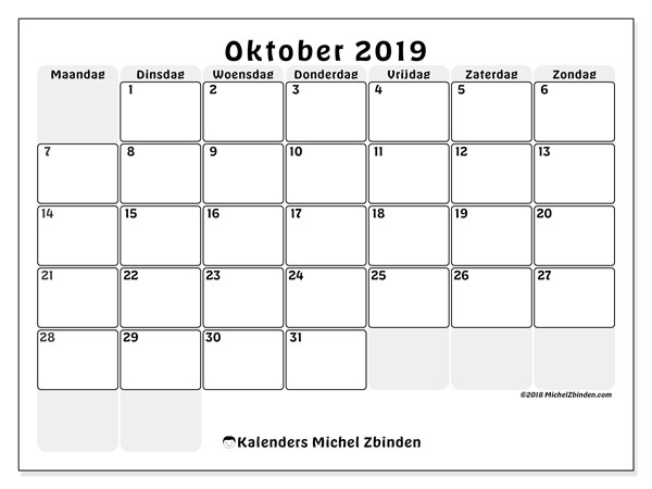 Kalender oktober 2019, 44MZ. Maandkalender om gratis te printen.