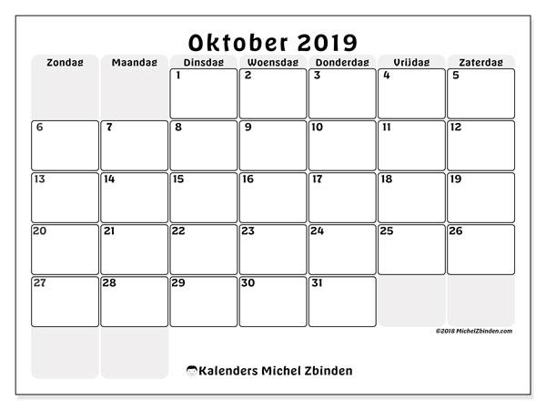 Kalender oktober 2019, 44ZZ. Kalender voor de maand die gratis moet worden afgedrukt.