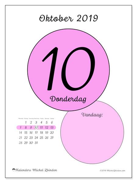 Kalender oktober 2019, 45-10MZ. Dagelijkse kalender om gratis te printen.