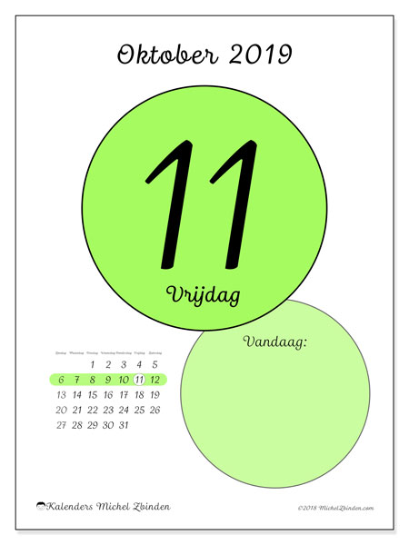 Kalender oktober 2019, 45-11ZZ. Dagelijkse kalender om gratis te printen.
