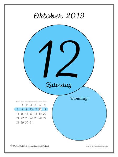 Kalender oktober 2019, 45-12MZ. Dagelijkse kalender om gratis te printen.