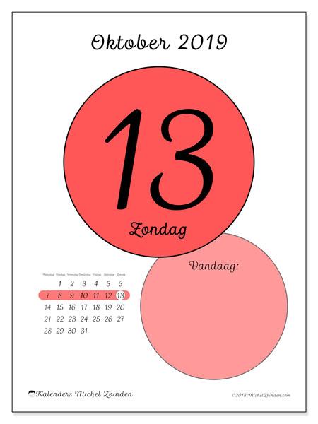 Kalender oktober 2019, 45-13MZ. Kalender voor de dag om gratis te printen.