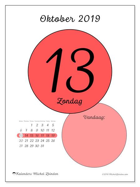 Kalender oktober 2019, 45-13ZZ. Dagelijkse kalender om gratis te printen.