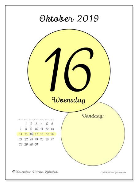 Kalender oktober 2019, 45-16MZ. Dagelijkse kalender om gratis te printen.