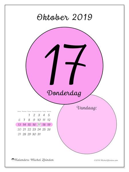 Kalender oktober 2019, 45-17ZZ. Dagelijkse kalender om gratis te printen.