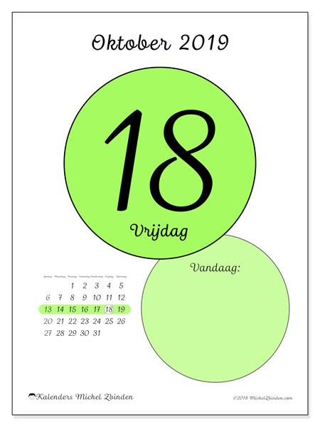 Kalender oktober 2019, 45-18ZZ. Kalender voor de dag om gratis te printen.