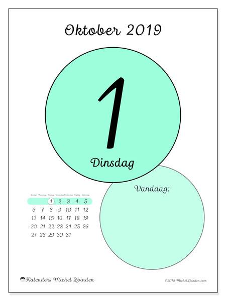 Kalender oktober 2019, 45-1ZZ. Kalender voor de dag om gratis te printen.