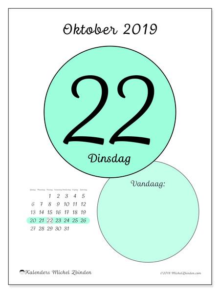Kalender oktober 2019, 45-22ZZ. Dagelijkse kalender om gratis te printen.