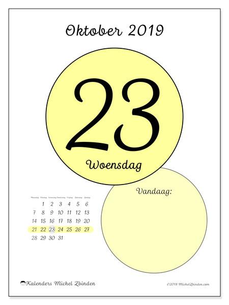 Kalender oktober 2019, 45-23MZ. Kalender voor de dag om gratis te printen.