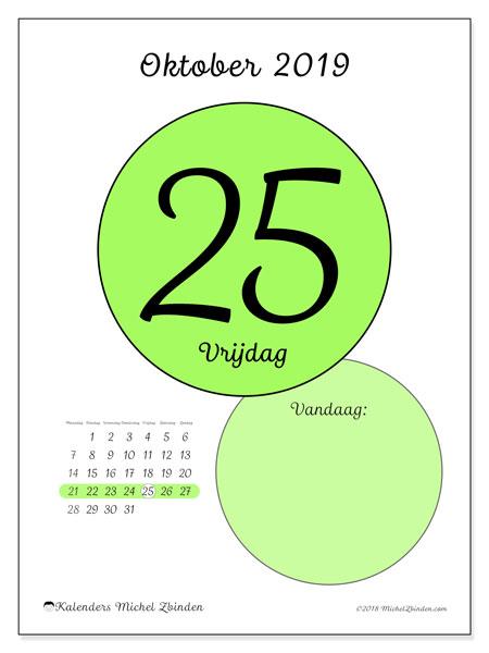 Kalender oktober 2019, 45-25MZ. Kalender voor de dag om gratis te printen.