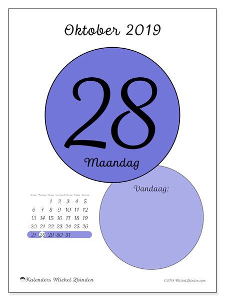 Kalender oktober 2019, 45-28ZZ. Dagelijkse kalender om gratis te printen.