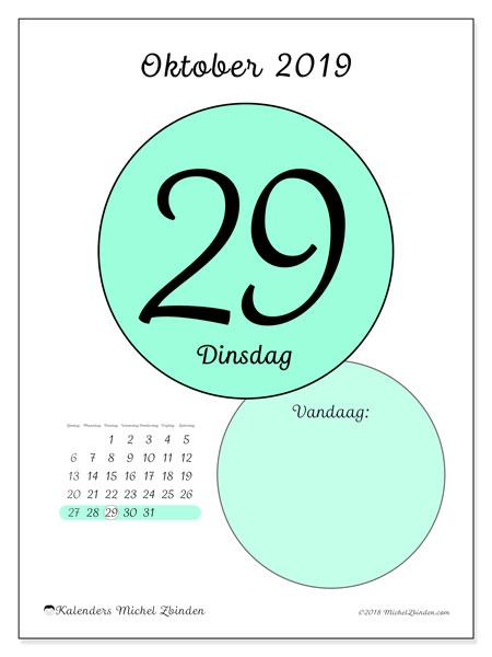 Kalender oktober 2019, 45-29ZZ. Kalender voor de dag om gratis te printen.