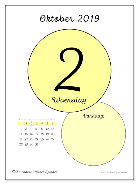 Kalender oktober 2019, 45-2MZ. Dagelijkse kalender om gratis te printen.
