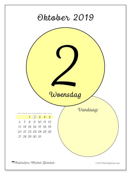 Kalender oktober 2019, 45-2ZZ. Dagelijkse kalender om gratis te printen.