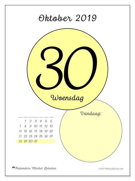 Kalender oktober 2019, 45-30MZ. Dagelijkse kalender om gratis te printen.
