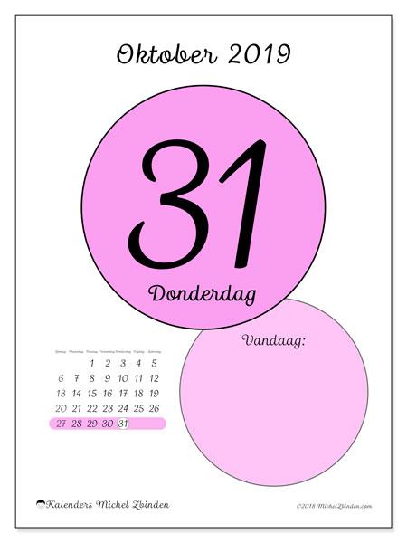 Kalender oktober 2019, 45-31ZZ. Dagelijkse kalender om gratis te printen.