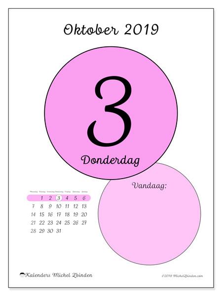 Kalender oktober 2019, 45-3MZ. Dagelijkse kalender om gratis te printen.